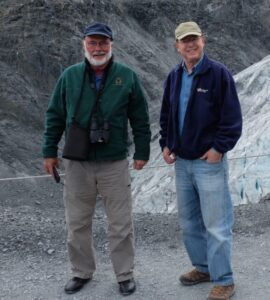 Lewis Mandell and friend Michael Meyer at glacier in Alaska